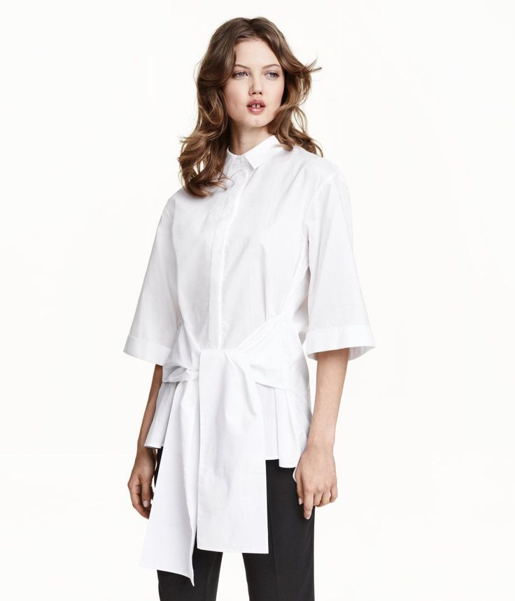 I wish it had a different collar/neckline, but I like the idea. -  When you're a professional, but also sartorially daring.H&M Cotton Tie Blouse, $39.99, available at H&M. #refinery29 http://www.refinery29.com/affordable-button-up-shirt-trend#slide-2