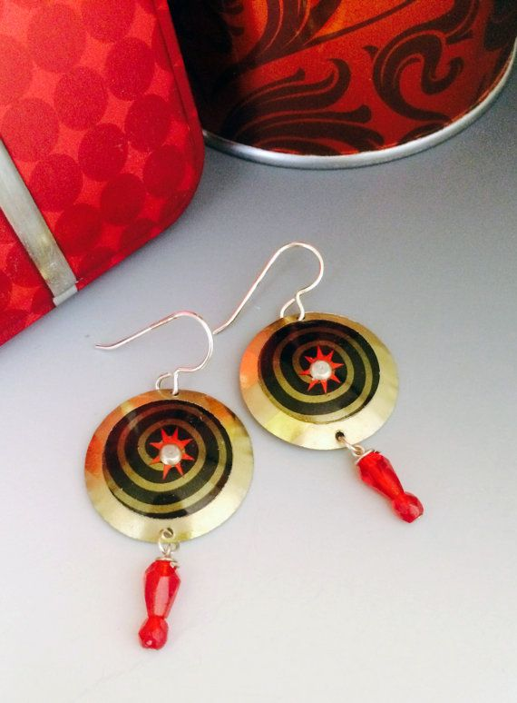 Black gold and red up-cycled earrings uses a by SusanParrishArt