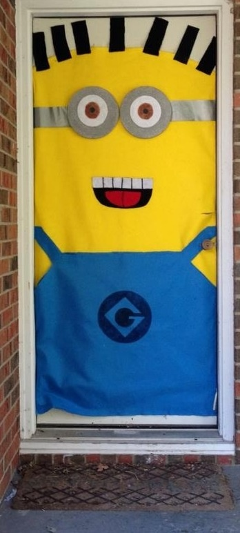 despicable me halloween door decoration made using felt duct tape styrofoam and