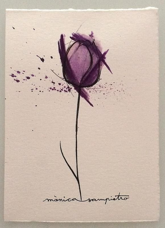 "Art Tattoo Original Sheet ink and watercolor "" Tulipan """