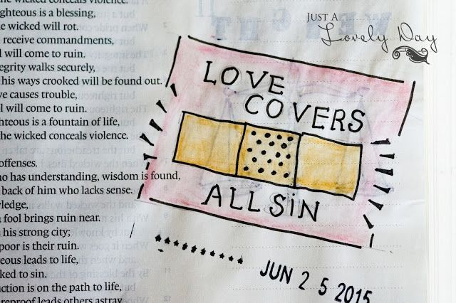 Love Covers All Sin~ Proverbs 10:12/ Using cheap Acrylic Paints in my Bible Journaling | Just a Lovely Day