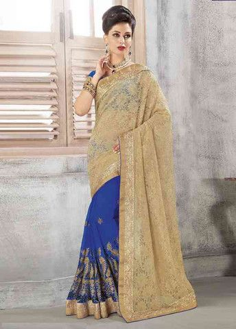 Golden And Blue Color Smart Net Special Occasion Sarees http://www.shopcost.in/saree