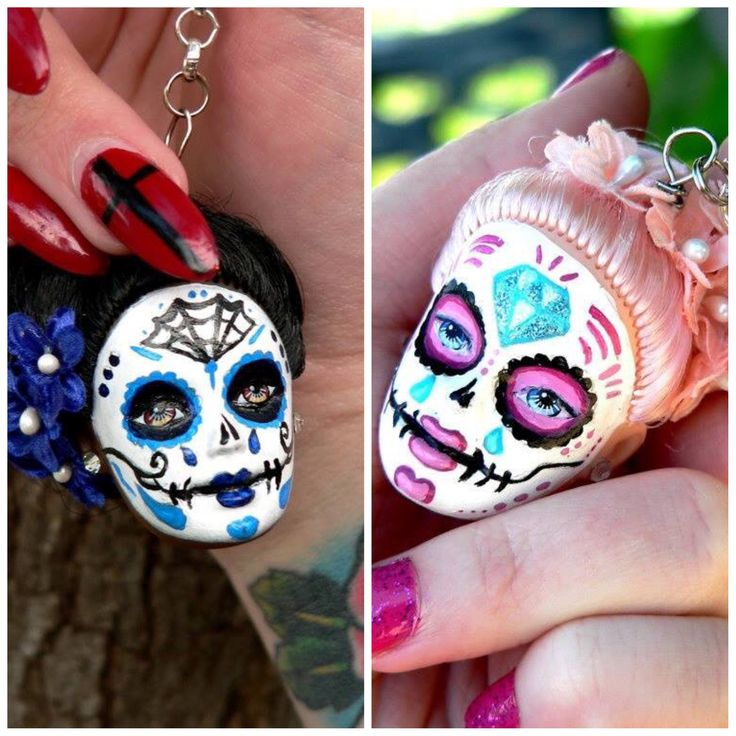 Sugar skull keychains from Barbie doll heads