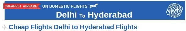 Book Delhi to Hyderabad flight tickets at affordable prices through Goibibo.com. There are many airlines which provide connecting flight from Delhi to Hyderabad like Jetlite, Spicejet, Indigo etc. Here, at Goibibo, you can check the air fares, arrival and departure time of flights, other specifications and then book your air tickets accordingly.