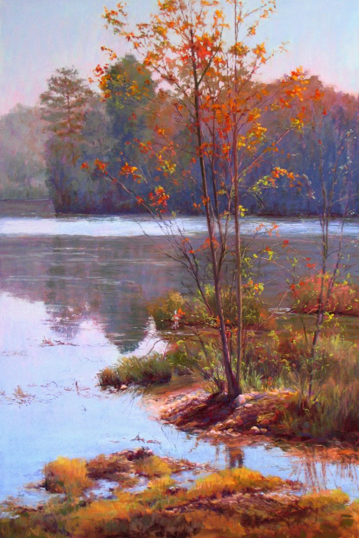 """Fall Beauty"" is a 36""x24"" pastel on Ampersand Pastelbord. The scene is a little different for me. I normally am not drawn to autumn scenes. This one did inspire me to try! The location was near John's Creek, GA. This painting has been accepted into the Women Painters of the Southeast Juried Exhibition which will be at the Magnolia Gallery, Greensboro GA... Receptions on March 28 & 29 in the evening. www.marshasavage.com"
