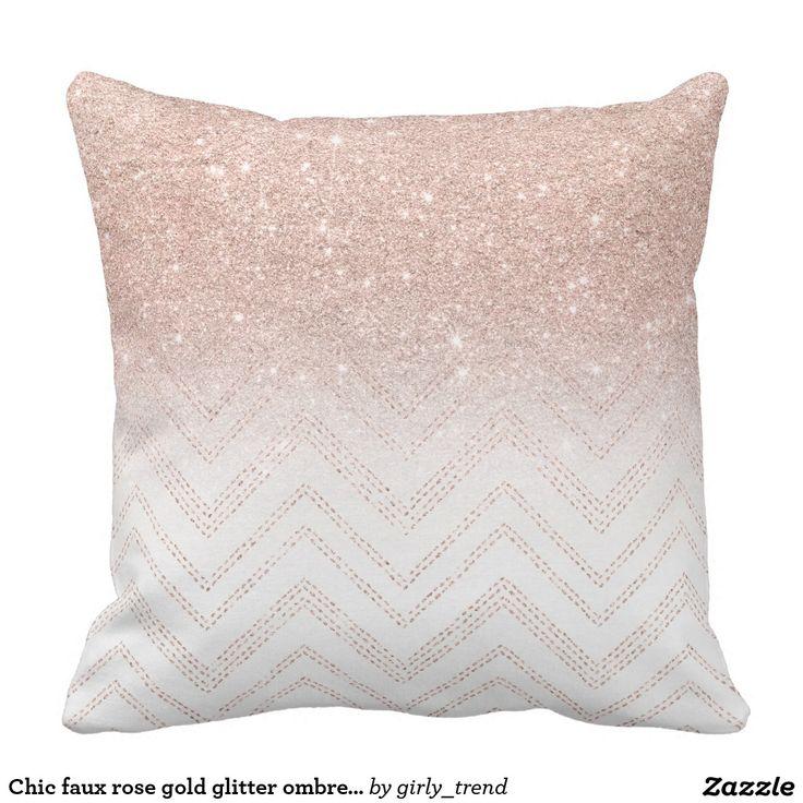 Chic faux rose gold glitter ombre modern chevron throw pillow