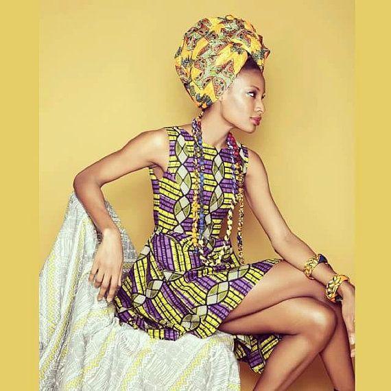 Ankara-Kleid afrikanische print Kleid lila Limette von MyAshoMarket