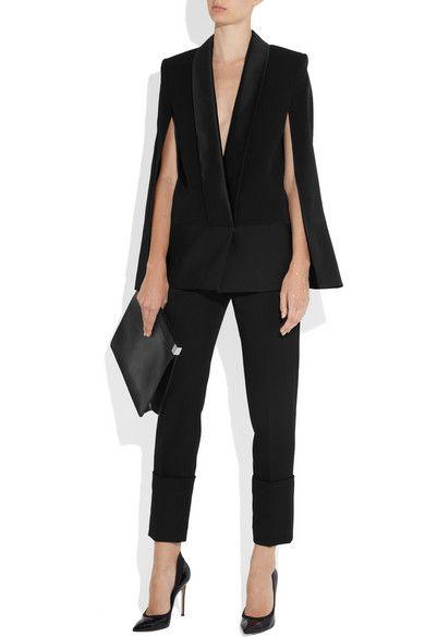 Victoria Beckham Silk and wool-blend cape jacket