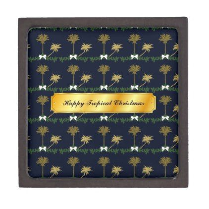 Blue and Gold Tropical Christmas with Palm Trees Jewelry Box - blue gifts style giftidea diy cyo
