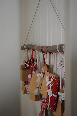 Tree branch to hold advent bags
