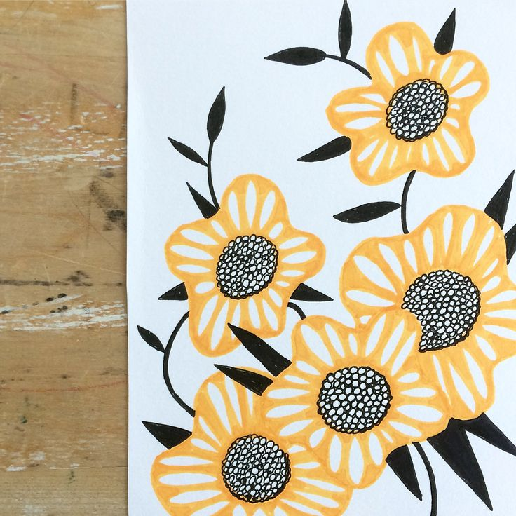 Yellow flower drawing. Botanical drawing. Sketch of the day. Illustration. Ink. Promarker. By Johanna Sandberg.