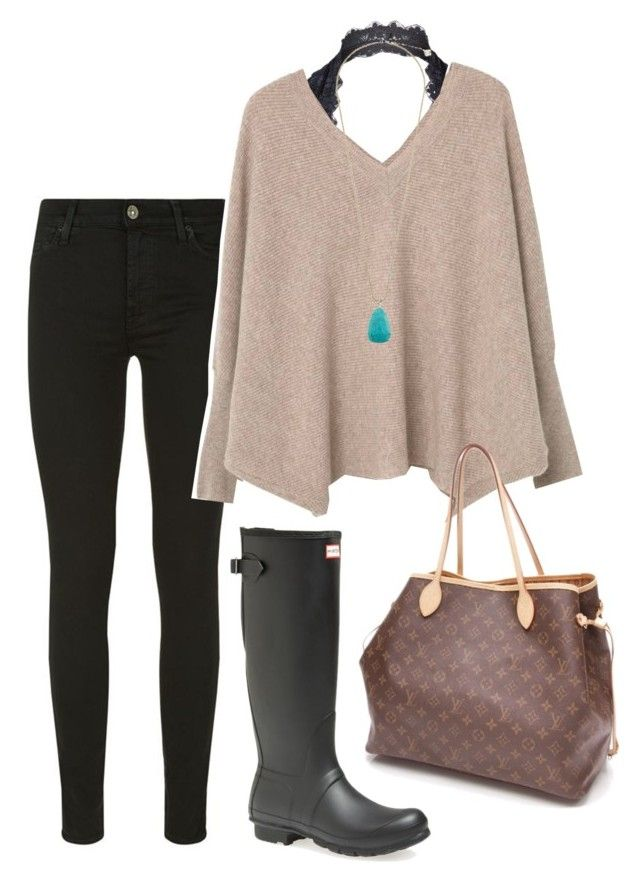 """""""rainy day"""" by prep-lover1 ❤ liked on Polyvore featuring 7 For All Mankind, Hunter, Free People, MANGO, Kendra Scott and Louis Vuitton"""
