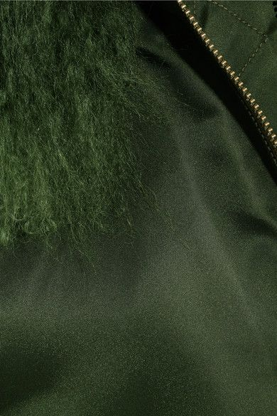 MR & MRS ITALY - Shearling-trimmed Shell Bomber Jacket - Forest green -