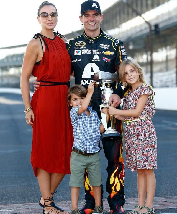 The Jeff Gordon family after Jeff's win of the Brickyard 400--his first NASCAR win 21 years ago and his fifth win of this race.  My son in law is a member of his shop crew and works in fabrication.   We celebrate with Jeff!!!!