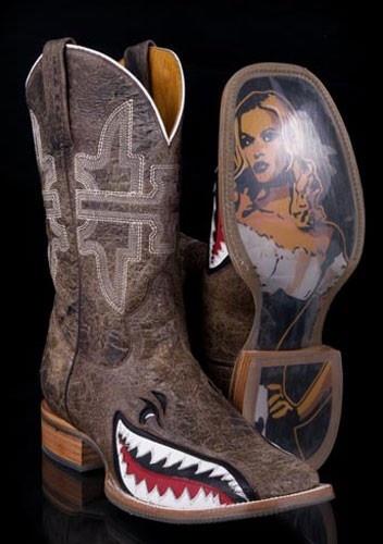 Mens Tin Haul Toastin' A Gnarly Shark Brown Cowboy Boots