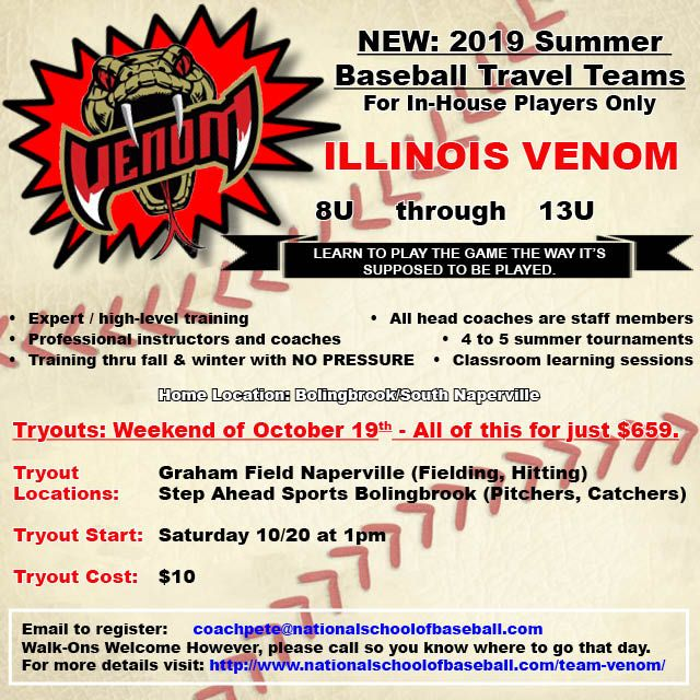 Introducing Illinois Venom Summer Travel Baseball Starting 2019 Check Out The Details Http Www National Travel Baseball Travel Team Baseball Travel Team