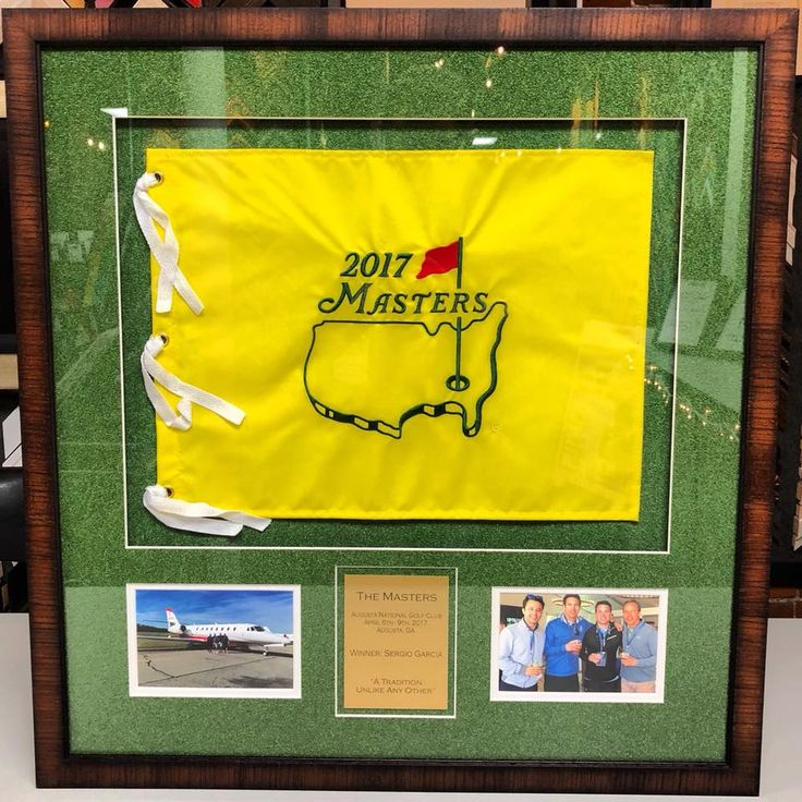 ⛳️ Custom framed Masters Tournament flag using turf matting, UV glass and frame by AMPF Moulding! #art #pictureframing #customframing #denver #colorado #themasters #golf