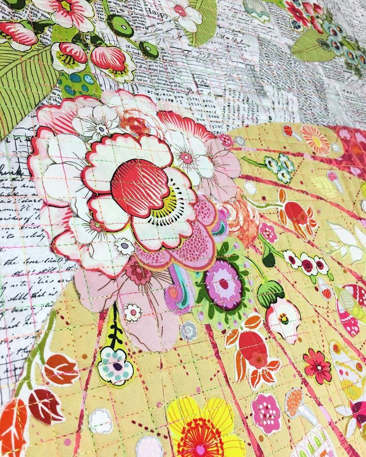 Collaged fabric by @tickled_pinky #quiltmarket