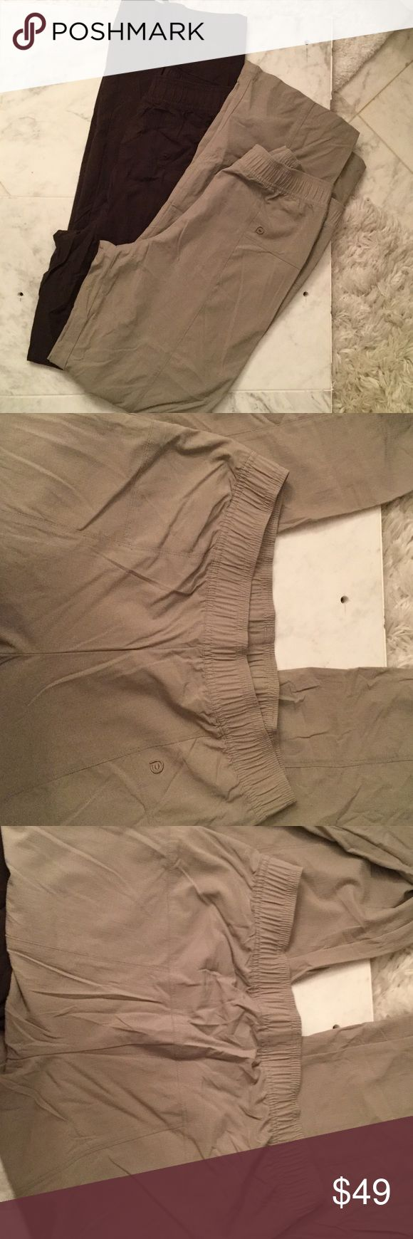 Ladies workout pants tan and brown Ladies nylon 86% and spandex pants 14%. Identical style...one is brown and one in a tan stone color. Stretch nylon fabric ensures the pants will always stay in shape to make you look your best working out or running errands around town. Size small regular length . Worn once brand new condition Paiva Pants Track Pants & Joggers