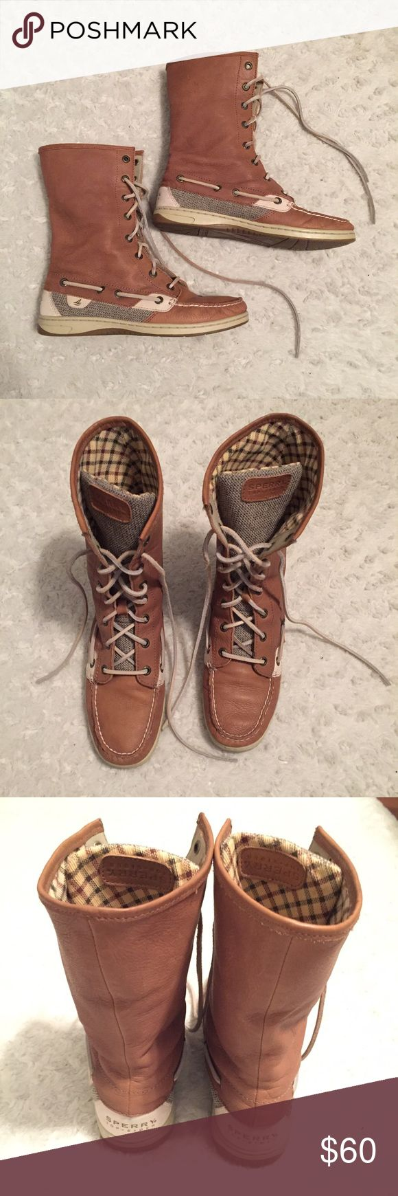 Sperry Top Sider lace up leather boots 7 Sperry Top Sider boots in great condition, only worn a few times. Tan soft leather with patterned inside that can be worn folded over. Sperry Top-Sider Shoes Lace Up Boots