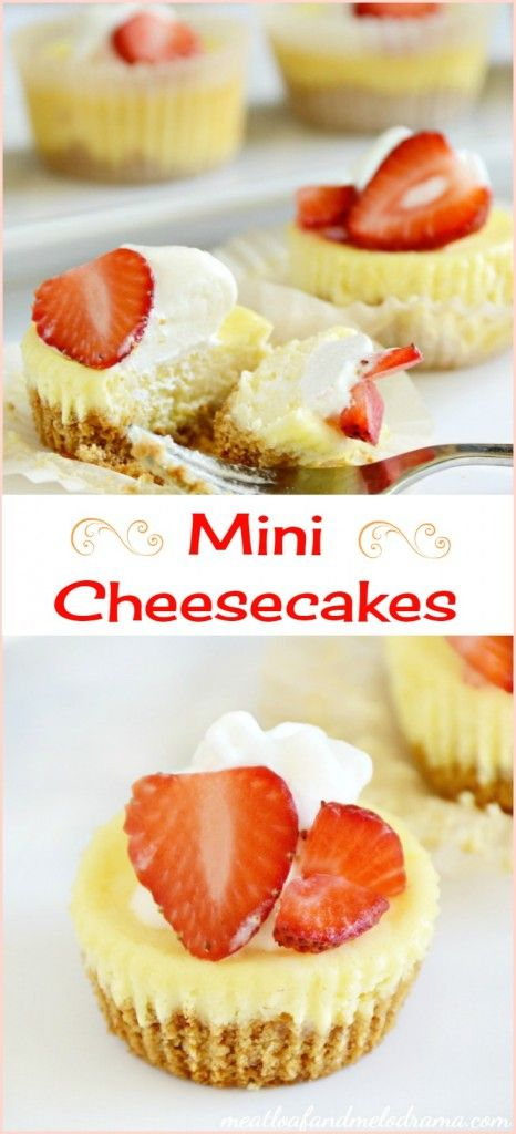 Mini cheesecakes with graham cracker crust. These individual cheesecakes are made in a muffin tin and are so easy. Perfect dessert for holidays and parties.