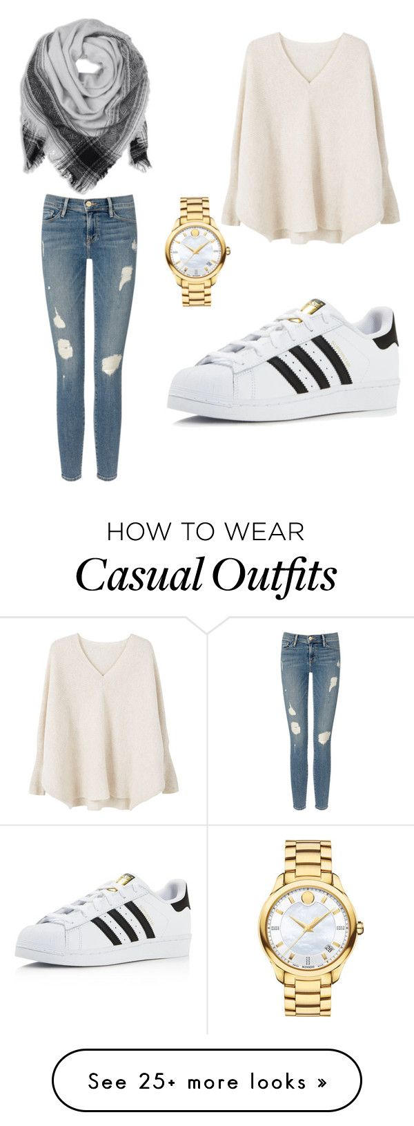 """Casual"" by panfilovisa on Polyvore featuring Frame Denim, MANGO, Movado and adidas"