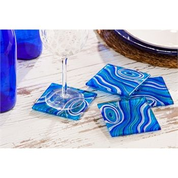 Square Glass Coaster, Set of 4, Blue