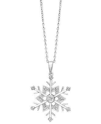 Diamond Necklace, Sterling Silver Diamond Snowflak…