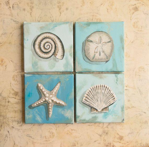 Seashells Square Wall Art, 16x16 acrylic painting shades of blue, starfish, sand dollar, light blues, creams, bathroom, living area, bedroom...