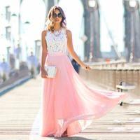 Crochet Lace Dress O neck Sleeveless Maxi Dress
