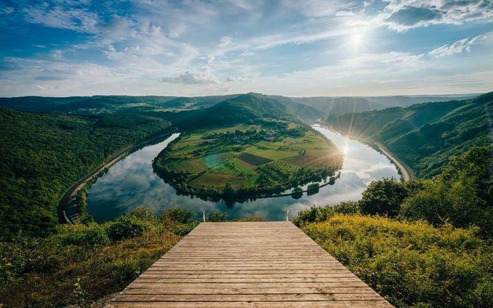 Lataa kuva Saksa, kesällä, Mosel-joki, taivuta, Rheinland-Pfalzin