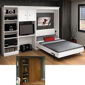 bestar u2013 studio double wall bed set u2013 white at canada costco - Murphy Bed Desk