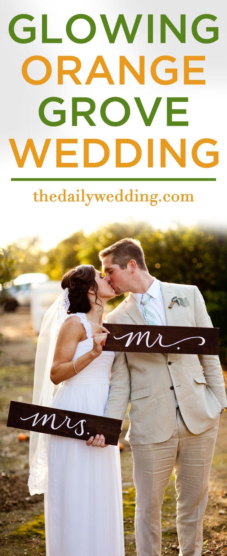 So gorgeous!! View the full wedding here: http://thedailywedding.com/2015/12/31/glowing-orange-grove-wedding-crista-cody/