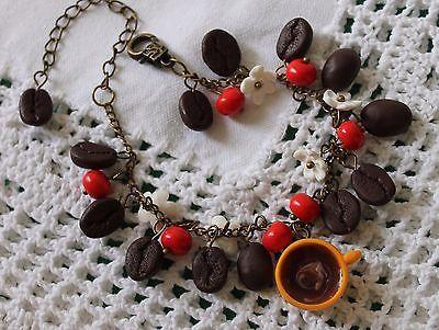 Jewelry Women Bracelet Coffee / Polymer Clay Handmade
