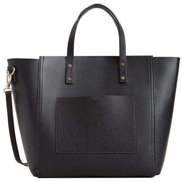 MANGO Pebbled shopper bag ($70) ❤ liked on Polyvore featuring bags, handbags, tote bags, shopper purse, strap purse, pebbled-leather handbags, mango purse and shopping tote