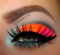 neon make up, love the colors!!!!!!