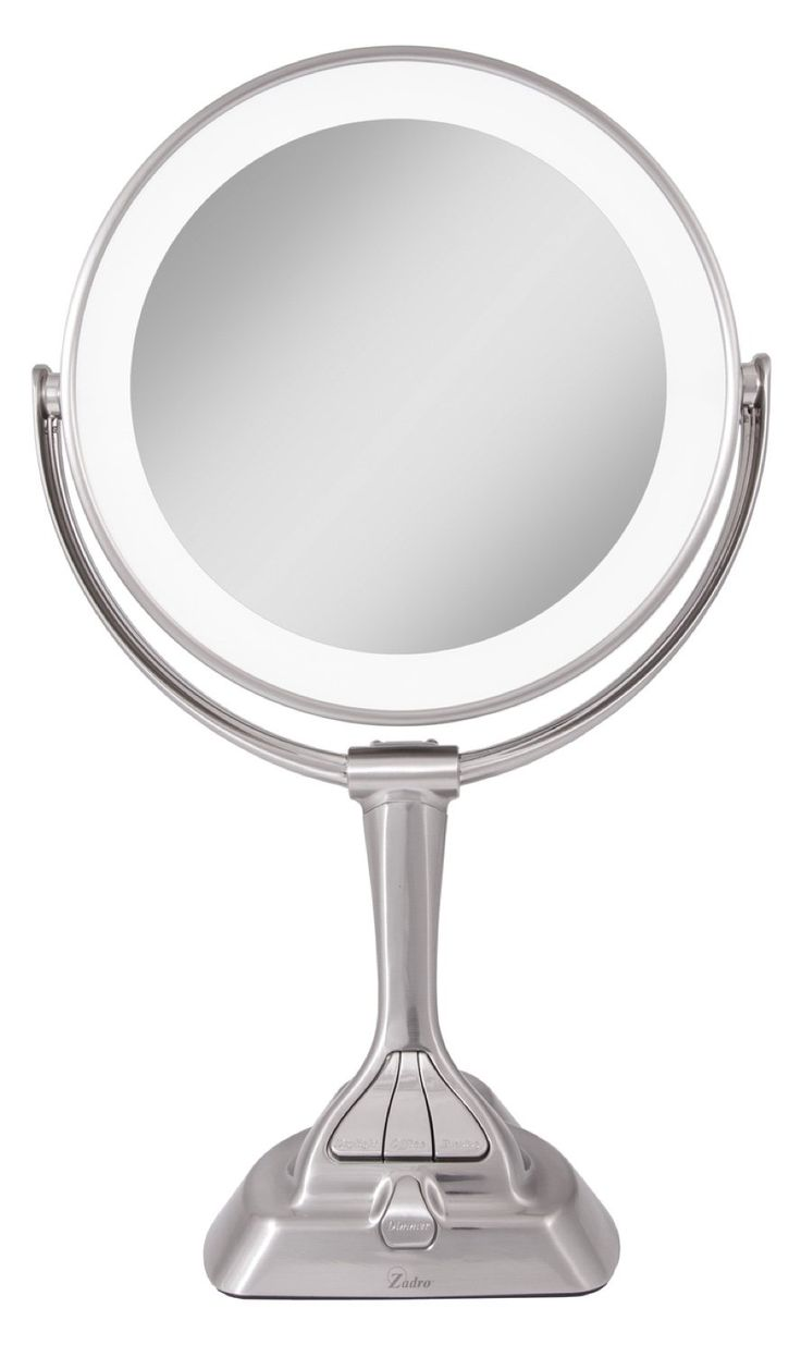 Zadro Led Light Dimmable Dual Sided Vanity Mirror Satin
