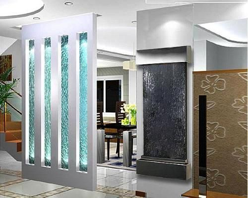 Indoor Glass Waterfall Design As Element Of Decoration Home Design