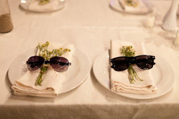 Destination Beach Wedding, Bar & Bat Mitzvah & Party Theme Ideas - Sunglasses Napkin Holders - mazelmoments.com