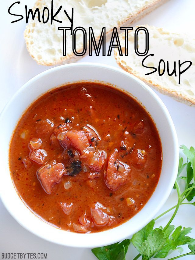 rustic Smoky Tomato Soup has chunks of fire roasted tomatoes, smoked ...
