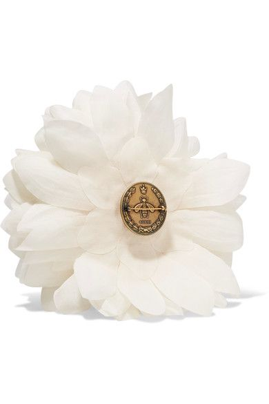 Gucci - Floral Silk Brooch - White - One size