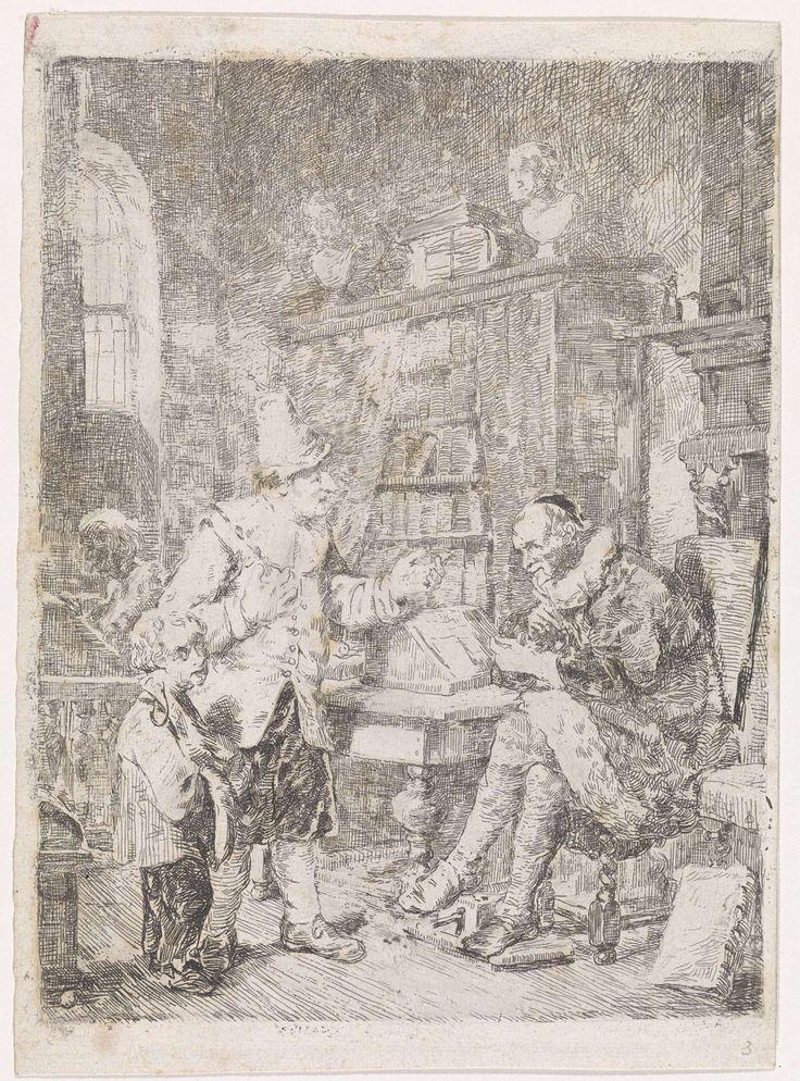 David van der Kellen (III) | Bij de advocaat, David van der Kellen (III), 1837 - 1882 | In een vertrek zit een rijkelijk geklede advocaat voor de schouw bij een lessenaar, waarvoor een gebarende man met hoed staat. Bij de man staat een jongetje dat in de richting van de toeschouwer kijkt en een ham en worst bij zich heeft. De man vraagt mogelijk raad aan de advocaat, die de man met een handgebaar duidelijk maakt dat raad geld kost. Op de achtergrond staat een boekenkast met daarop twee…