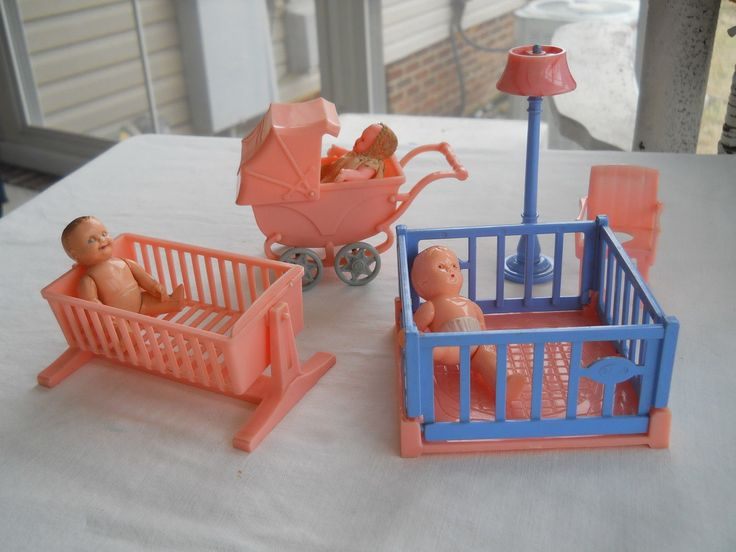 Vintage Dollhouse Furniture For Sale Part - 35: VINTAGE TOY DOLLHOUSE FURNITURE Lot Of 5 ITEMS IDEAL BABY NURSERY | EBay