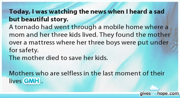 Today, I was watching the news when I heard a sad but beautiful story.
