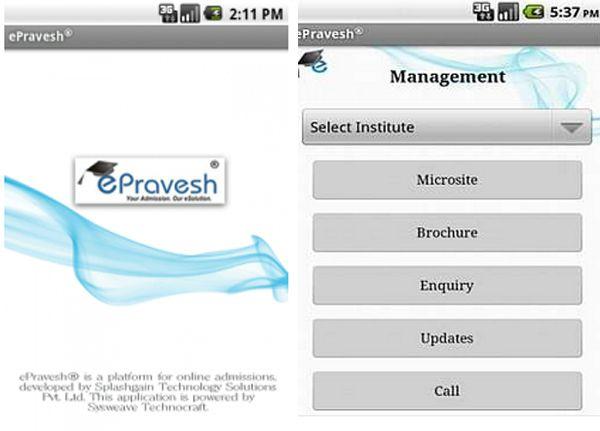 Splashgain's ePravesh Andorid app to ease college admission process