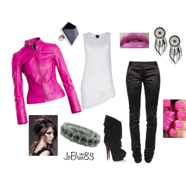 Pink Motorcycle Jacket, created by jobritt83 on Polyvore