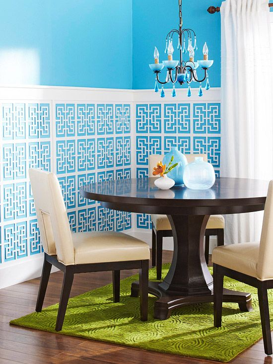 Latticework panels (available at home centers) as wainscoting!: Dining Rooms, Decor Ideas, Breakfast Nooks, Decor Projects, Colors Blue, Custom Wainscoting, Design Blog, White Wall, Bright Colors