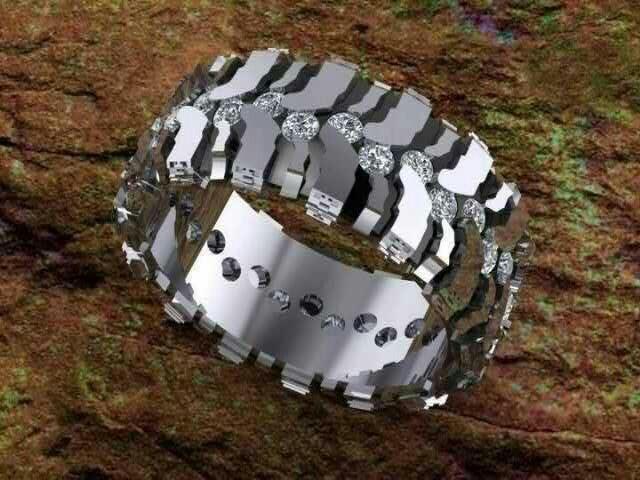 Mud Tire Ring Husband Wedding Band