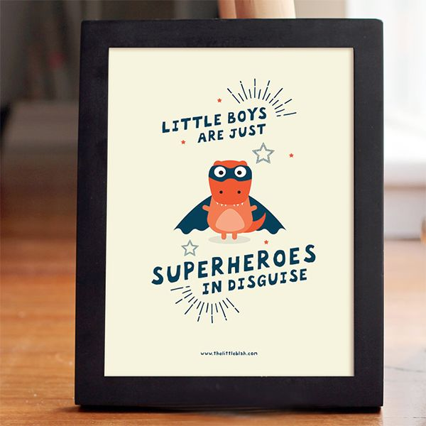 A fun print for your dinosaur lover which will look stunning on their wall.  It's a dinosaur but it's not a dinosaur which will give them nightmares!  Superhero