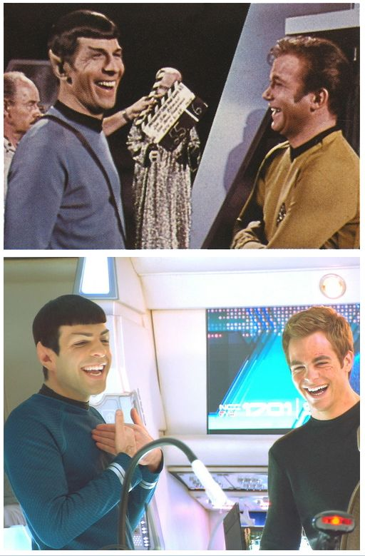 Kirk & Spock behind the scene - Then and now!